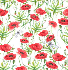 Hand-drawn watercolor floral seamless pattern. Summer meadow flowers - poppy on the white background. Repeated pattern for textile, wallpaper. Red colorful blossom