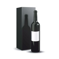 Bottle of wine packaging design. A luxury presentation of red wine. Vector illustration. Dark bottle of wine on white background