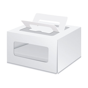 White Cardboard Carry Box Packaging For Cake. Toy, Electronics, Gift Or Other Products. Illustration Isolated On White Background. Mock Up Template Ready For Your Design. Packing Vector EPS10