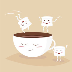 Cute marshmallows jumping in kawaii cacao cup. Coffee vector illustration