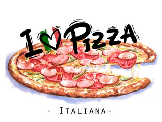 """Hand-drawn watercolor illustration of the pizza. """"I love pizza"""" illustration. Drawing of the fast Italian food isolated on the white background."""