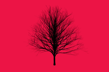 red die tree color Silhouettes art design for background.