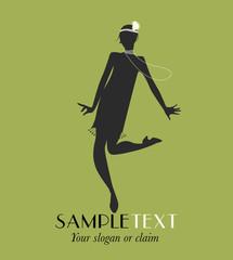 Funny girl silhouette dancing charleston