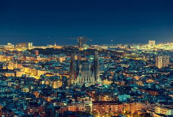 Barcelona skyline panorama at night, Spain Fotomurales