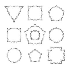 Vector set of ten different retro floral frame