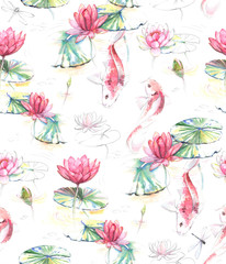 Hand-drawn watercolor seamless pattern in Japanese style. Repeated background with Koi carp fishes in the water with lotus flowers and leaves. Pattern for the textile and wallpapers