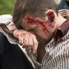 Injured man after car crash