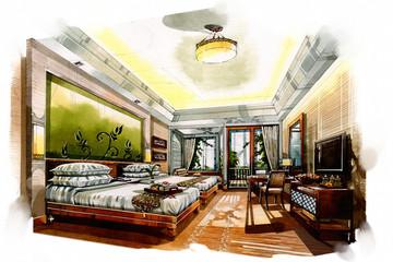 sketch interior twin bedroom into a watercolor on paper.