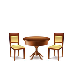 Round table and two chairs isolated on white background