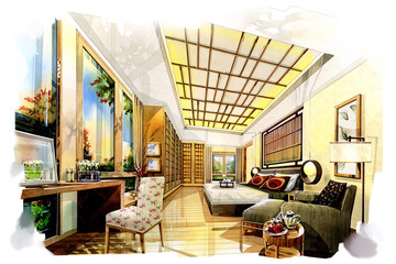 sketch interior bedroom japanese into a watercolor on paper.