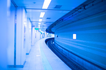 japan underground train station in blue colored hi tech clean concept.
