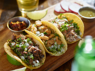 Wall Mural - mexican street tacos with barbacoa, carnitas and Chicharrón