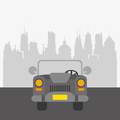 car with city buildings background transport image