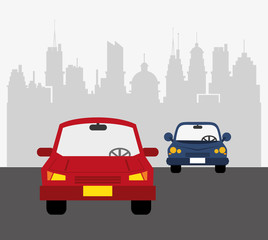 cars with city buildings background transport image