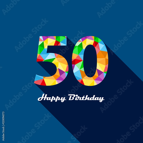 HAPPY 50th BIRTHDAY Vector Polygon Pattern Card