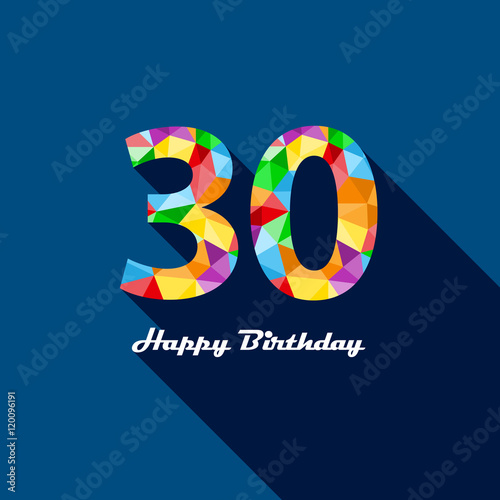 HAPPY 30th BIRTHDAY Vector Polygon Pattern Card