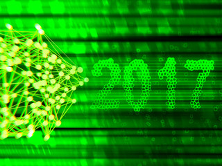 Happy new year 2017 isolated numbers written with light on black tech geometric background
