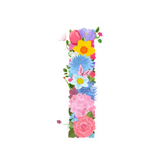 Fashion alphabet from lovely flowers of daffodils, roses, tulips