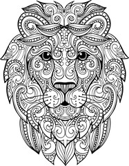 Hand drawn doodle ornate lion illustration