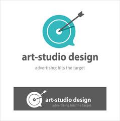 Design Studio, logo. Advertising hits the target. Slogan. The co