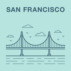 San Francisco Golden Gate bridge illustration made in line art s