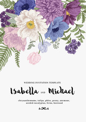 Wedding invitations with summer flowers.