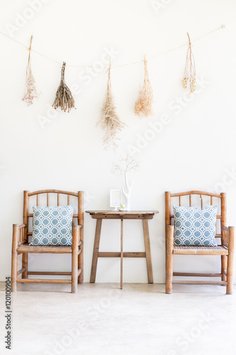 Bamboo seat with wood table home or cafe nature for 500 decoration details minimalism