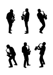 Silhouettes musician playing a saxophone on a white background