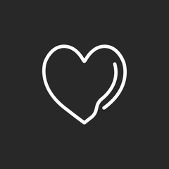 Heart sign one line icon on background