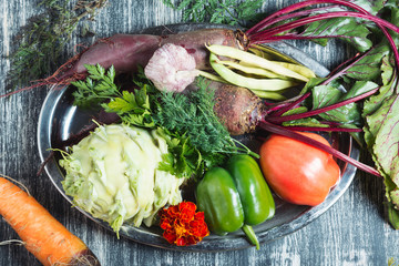 photo of fresh vegetables on wooden table. Bio Healthy food, herbs and spices. Organic vegetables on wood