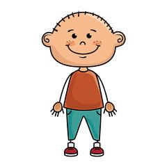 boy smiling cartoon happy face child kid  vector illustration