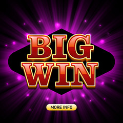 Big Win casino banner. For poker, roulette, slot machines or card games.