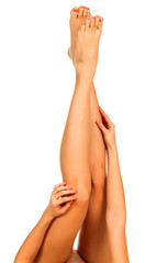 Female legs and hands, white background, isolated