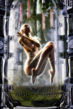 futuristic girl suspended animation