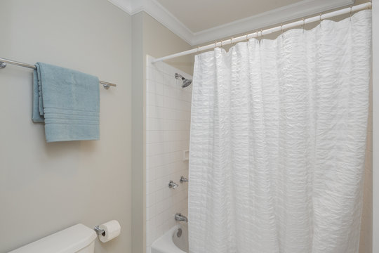 Shower curtain and towel.