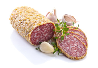 salami isolated on white background