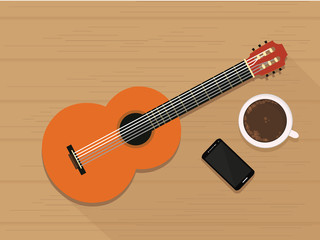 Guitar, Coffee, and Smart Phone on table. Vector illustration