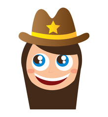 sheriff character comic law vector illustration design