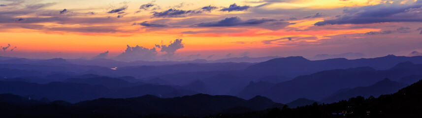 Panorama of sunset in mountains