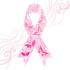 Vector illustration with lace pink ribbon with butterflies and dotted swirls on the white background. Elegance design for health campaign for woman in October. Breast Cancer Awareness Month symbol.