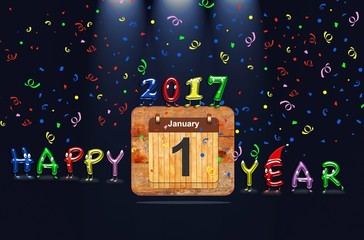 Wooden calendar with first January of 2017 year and colorful text Happy Year. 3D rendering.