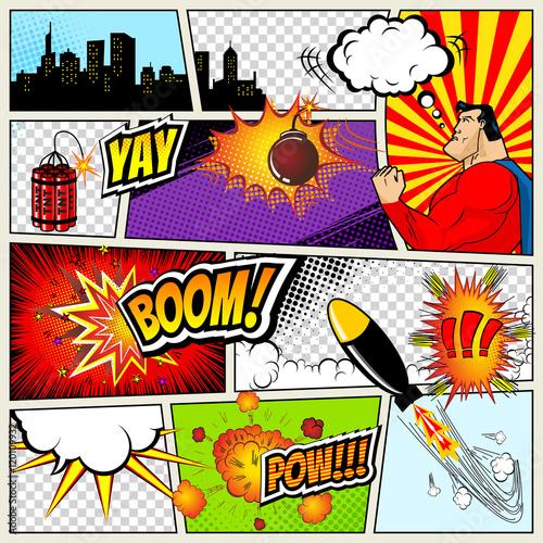 Comics Template Vector Retro Comic Book Speech Bubbles Illustration Mock Up Of Page