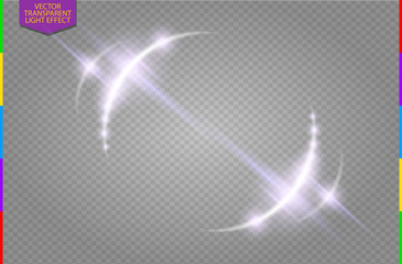 Abstract luxury vector light flare semicircle and spark light effect. Sparkling glowing violet round frame on transparent. Starlight moving background. Glow blurred space for message or logo