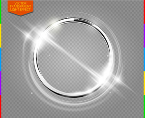 Abstract luxury chrome metal ring. Vector light circles and spark light effect. Sparkling glowing round frame on transparent. Sunny and cheerful background. Glow space for your message.