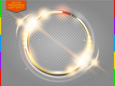 Abstract luxury golden ring. Vector light circles and spark light effect. Sparkling glowing round frame on transparent. Sunny and cheerful background. Glow space for your message.