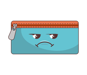 pencil case with zipper and sad face. school stationary object cartoon. vector illustration
