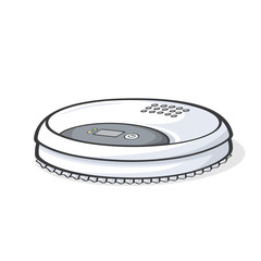 Vector illustration of robot vacuum cleaner isolated on white background.