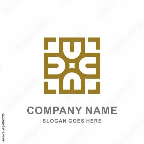 geometric circular letter d square shape morocco ornament decoration vector logo design template