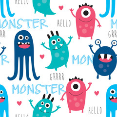 seamless monster pattern vector illustration