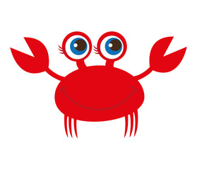crab animal cute marine vector illustration design